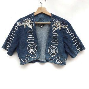 90s Acid Washed Jean Pearl Crystal Bolero Jacket